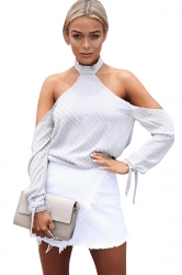 Womens Halter Long Sleeve Plain Backless Off Shoulder Top White