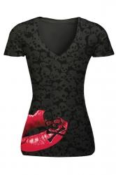 Womens V-neck Skull Head and Lip Printed Short Sleeve T-shirt Black