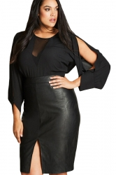 Womens Plus Size Open Long Sleeve Plain Blouse Black