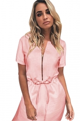 Womens Zipper Front Drawstring Waist Short Sleeve Shirt Dress Pink