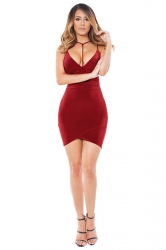 Womens V Neck Spaghetti Straps Plain Clubwear Dress Ruby