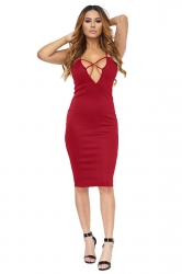 Womens Cross V Neck Spaghetti Straps Plain Clubwear Dress Ruby