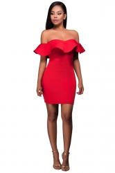 Womens Off Shoulder Ruffled Plain Bodycon Clubwear Dress Red