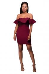 Womens Off Shoulder Ruffled Plain Bodycon Clubwear Dress Ruby