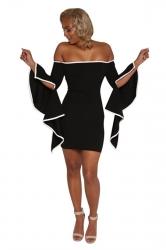 Womens Off Shoulder Asymmetric Sleeve Bodycon Clubwear Dress Black