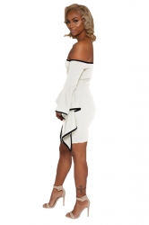 Womens Off Shoulder Asymmetric Sleeve Bodycon Clubwear Dress White