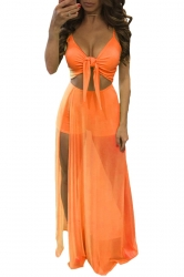 Womens Lace-up Cutout Mesh Splicing Side Slit Maxi Romper Dress Orange