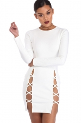 Womens Plain Long Sleeve Cut Out Slit Sides Clubwear Dress White