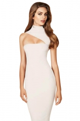 Womens Sexy High Collar Sleeveles Slimming Bodycon Dress White