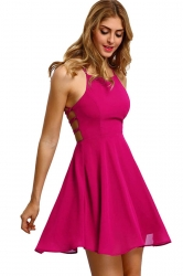 Womens Sexy Halter Open Back Cross String Clubwear Dress Rose Red