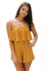 Womens Striped Printed Elastic Tube Chiffon One Piece Romper Yellow