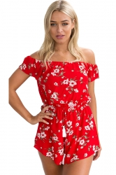 Womens Off Shoulder Floral Printed Elastic Tunic Waist Romper Red