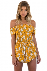 Womens Off Shoulder Floral Printed Elastic Tunic Waist Romper Yellow