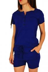 Womens Buttons V-neck Short Sleeve Drawstring Waist Romper Blue