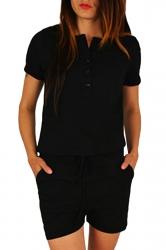 Womens Buttons V-neck Short Sleeve Drawstring Waist Romper Black