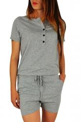 Womens Buttons V-neck Short Sleeve Drawstring Waist Romper Light Gray