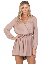 Womens V Neck Long Sleeve Drawstring Waist Plain Romper Apricot