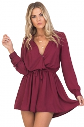 Womens V Neck Long Sleeve Drawstring Waist Plain Romper Ruby