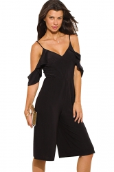 Womens V Neck Cold Sleeve Backless Plain Palazzo Romper Black