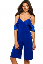 Womens V Neck Cold Sleeve Backless Plain Palazzo Romper Sapphire Blue