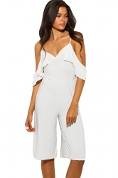 Womens V Neck Cold Sleeve Backless Plain Palazzo Romper White