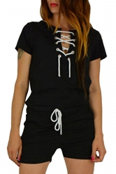 Womens Lace-up V-neck Short Sleeve Drawstring Waist Romper Black