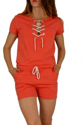 Womens Lace-up V-neck Short Sleeve Drawstring Waist Romper Orange