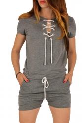 Womens Lace-up V-neck Short Sleeve Drawstring Waist Romper Gray