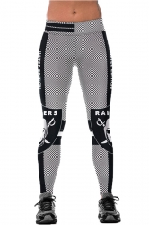 Womens Elastic Raiders Printed Sports Leggings Black