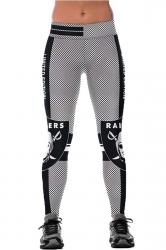 Womens Elastic Raiders Printed Sports Leggings Black