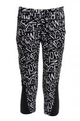 Womens High Waist Letters Printed Sports Capri Leggings Black