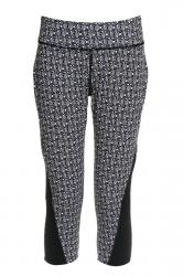Womens High Waist Geometric Printed Sports Capri Leggings Black