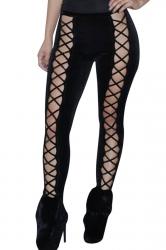 Womens Cut Out Lace-up Front Plain Velvet Leggings Black