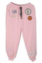 Womens Drawstring Waist Applique Loose Leisure Pants Pink