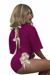 Womens Crewneck Lace Up Crop Top&High Waist Shorts Suit Rose Red