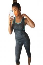 Womens Sports Color Block Tank Top&Capri Pants Suit Turquoise