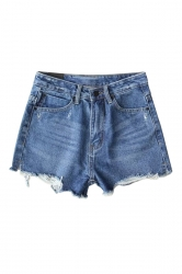 Womens High Waist Ripped Denim Jeans Shorts Blue