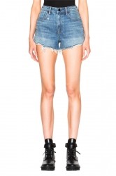 Womens High Waist Ripped Denim Jeans Shorts Light Blue