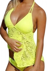 Womens 2PCS Plus Size Lace Patchwork Plain Tankini Swimsuit Yellow