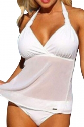 Womens Plus Size 2PCS Mesh Patchwork Plain Tankini Swimsuit White
