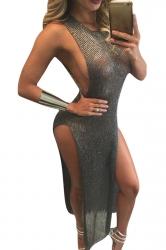 Womens Sheer High Sides Slit Sleeveless Maxi Beach Dress Gray