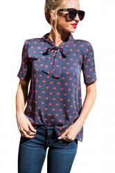 Womens Lip Printed Bow Bandage Chiffon Blouse Navy Blue
