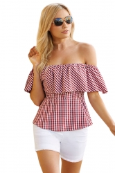 Womens Sexy Ruffle Off Shoulder Tunic Stripes Blouse Ruby