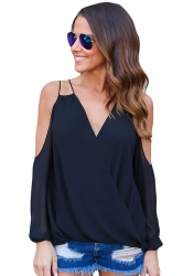 Womens Sexy Cold Shoulder V Neck Wrap Front Breezy Blouse Black