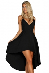 Womens Sexy Straps V-Neck Asymmetrical Hem Midi Dress Black