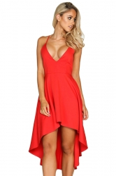 Womens Sexy Straps V-Neck Asymmetrical Hem Midi Dress Orangered