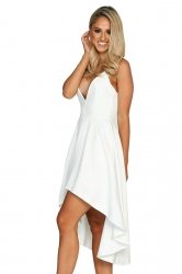 Womens Sexy Straps V-Neck Asymmetrical Hem Midi Dress White