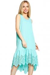 Womens Fashion Sleeveless Cut Out Back Smock Dress Blue