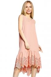 Womens Fashion Sleeveless Cut Out Back Smock Dress Pink