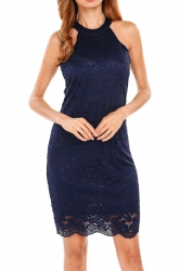 Womens Sexy Halter Zipper Lace Fitting Bodycon Dress Navy Blue